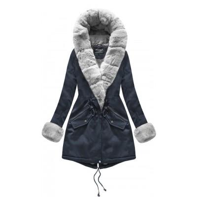 Bavlnená dámska zimná bunda modrá (XW801X)