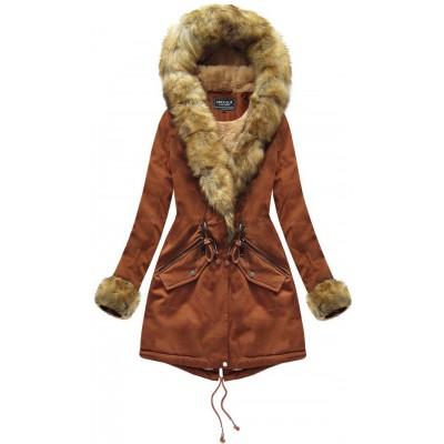 Bavlnená dámska zimná bunda karamelová (XW801X) eefddd6bc58