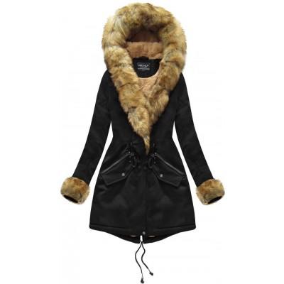 Bavlnená dámska zimná bunda čierna (XW801X)