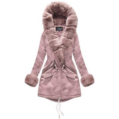 Bavlnená dámska zimná bunda staroružová (XW801-2X) 4b753fddba6