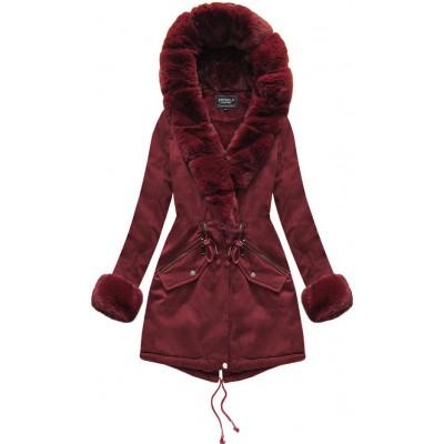 Bavlnená dámska zimná bunda bordová (XW801-3X)