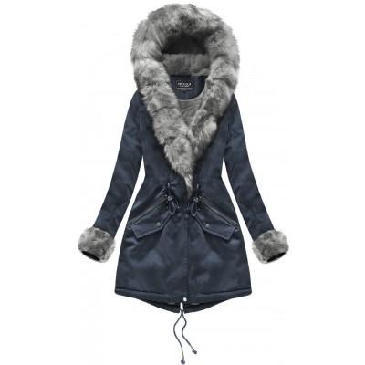 Bavlnená dámska zimná bunda modrá  (XW801-5X)