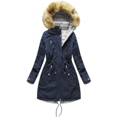 Obojstranná zimná bunda s kapucňou tmavomodrá-šedá W210)