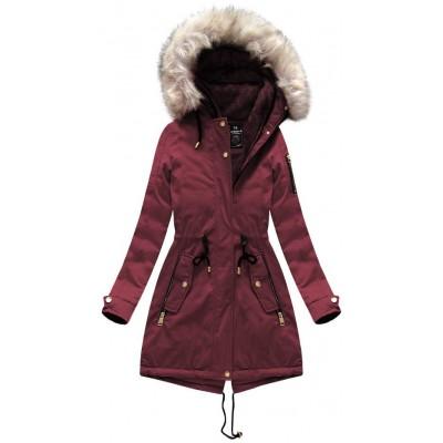 Dámska zimná bunda parka bordová (W630)