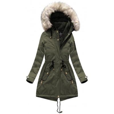 Dámska zimná bunda parka khaki (W630)