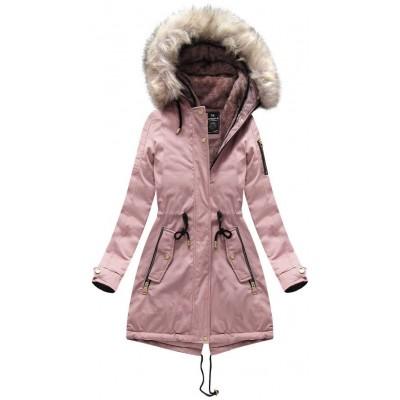 Dámska zimná bunda parka ružová (W630)