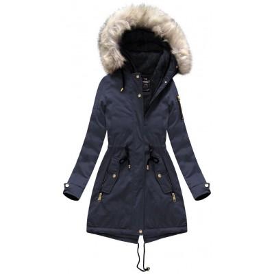Dámska zimná bunda parka modrá (W630)