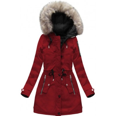 Dámska zimná obojstranná bunda parka bordovo-čierna (W631)
