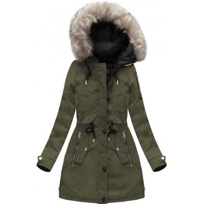 Dámska zimná obojstranná bunda parka khaki-čierna (W631)