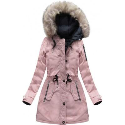 Dámska zimná obojstranná bunda parka ružovo-modrá (W631)