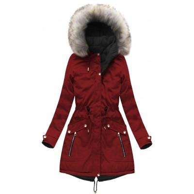 Dámska zimná obojstranná bunda parka bordovo-čierna (W632)