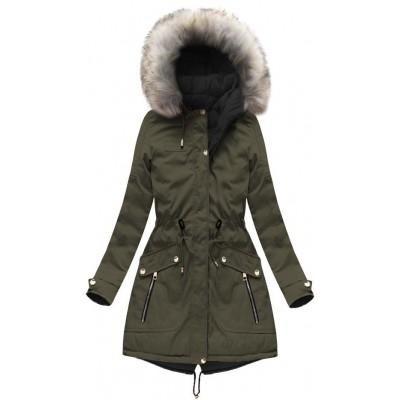 Dámska zimná obojstranná bunda parka khaki-čierna (W632)