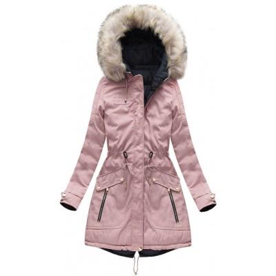Dámska zimná obojstranná bunda parka ružovo-modrá (W632)