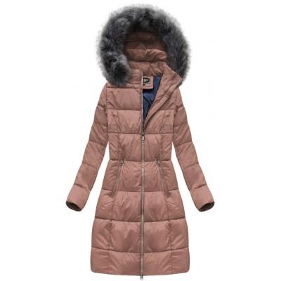 Dámska dlhá zimná bunda staroružová (7701)