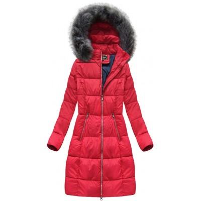 Dámska dlhá zimná bunda červená  (7701)