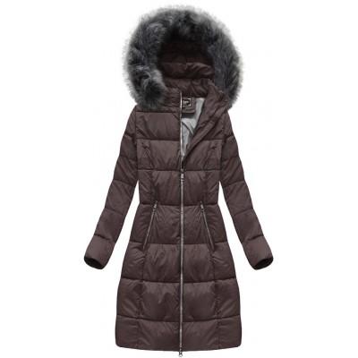 Dámska dlhá zimná bunda baklažanová (7701)