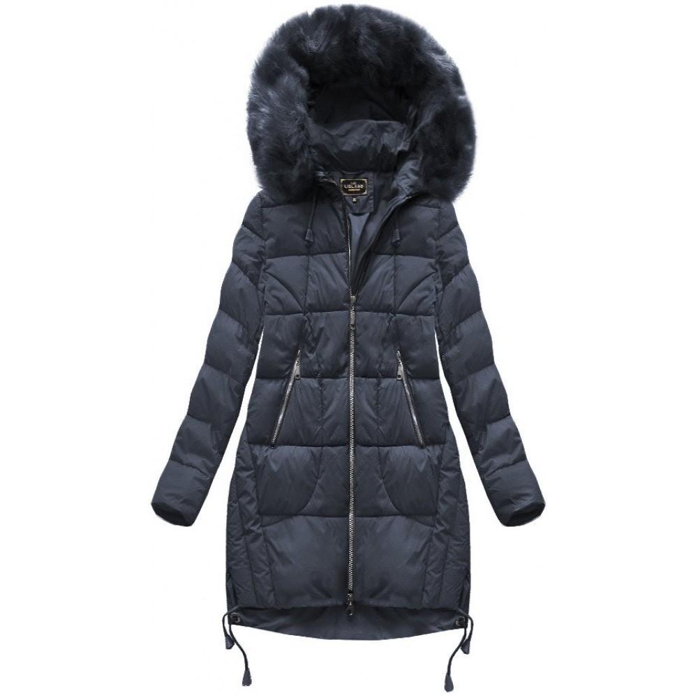 682ff9d9ff Prešívaná dámska zimná bunda tmavomodrá (7709BIG)