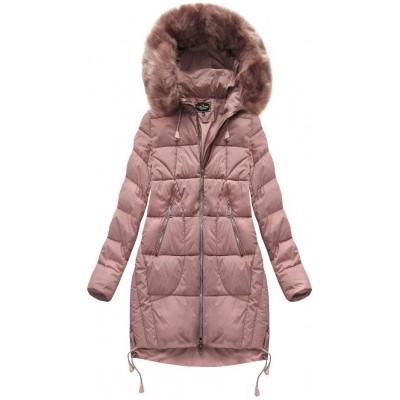 Prešívaná dámska zimná bunda staroružová (7709BIG)