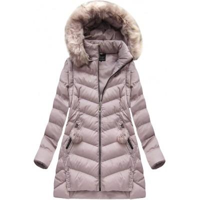 Dámska zimná bunda pudrovo ružová (W761)