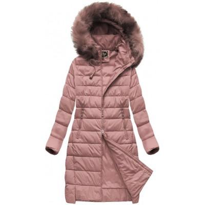 Kapucňa sa.. Dámska zimná bunda staroružová (7754BIG ) dcc7f81e438