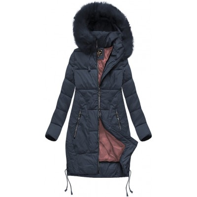 Dámska zimná bunda s kapucňou modrá (7690BIG)