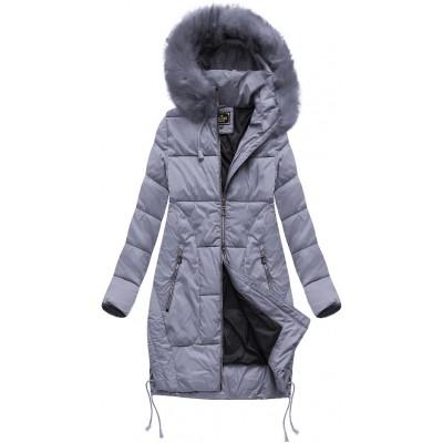 Dámska zimná bunda s kapucňou šedofialová (7690BIG)