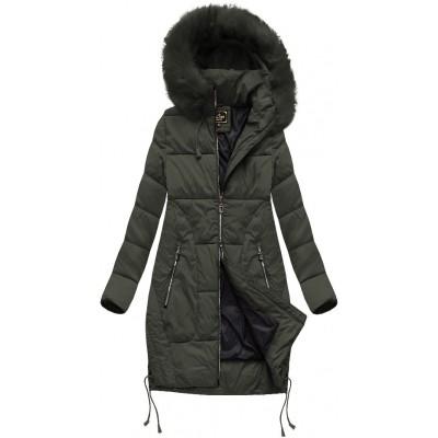 Dámska zimná bunda s kapucňou khaki (7690BIG)