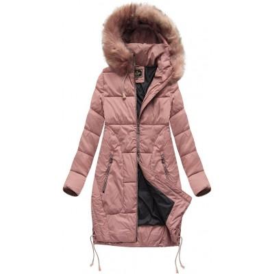 Dámska zimná bunda s kapucňou ružová (7690BIG)