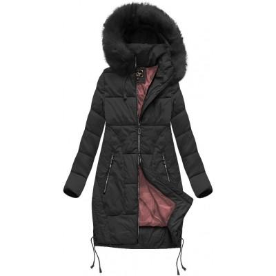Dámska zimná bunda s kapucňou čierna (7690BIG)