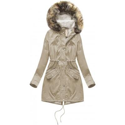 Dámska zimná bunda parka béžová (7602)