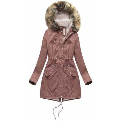 Dámska zimná bunda parka ružová (7602)
