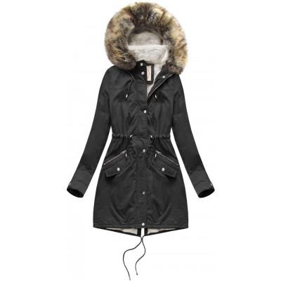 Dámska zimná bunda parka čierna (7602)