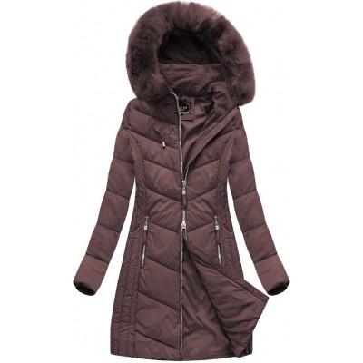 Dlhá dámska zimná bunda bordová (7689)