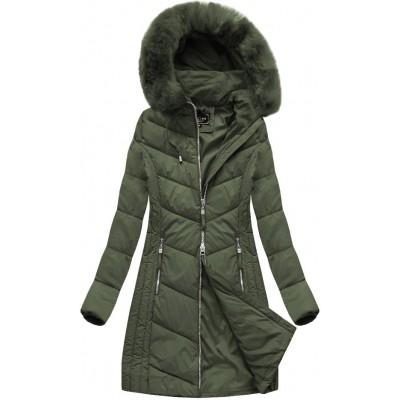 Dlhá dámska zimná bunda khaki (7689)