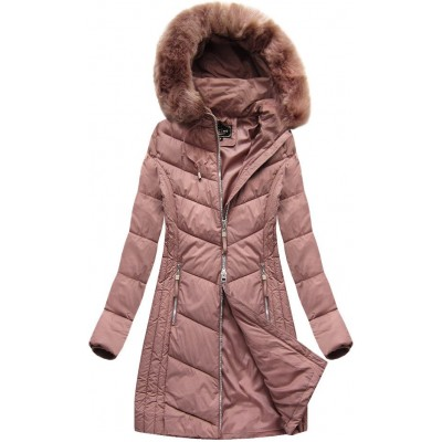 Dlhá dámska zimná bunda ružová (7689)