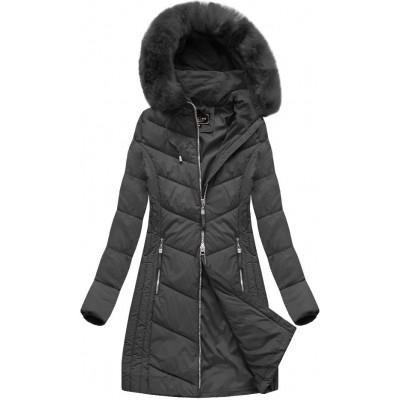 Dlhá dámska zimná bunda čierna (7689)