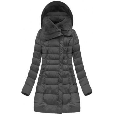 Dlhá dámska zimná bunda tmavošedá (B1068-30)