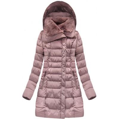 Dlhá dámska zimná bunda ružová (B1068-30)