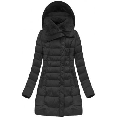 Dlhá dámska zimná bunda čierna (B1068-30)
