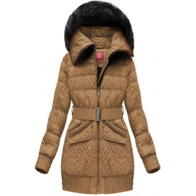 Dámska zimná bunda s opaskom karamelová (J6313W)