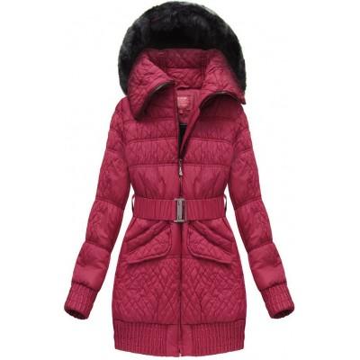 Dámska zimná bunda s opaskom bordová (J6313W)