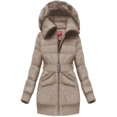 Dámska zimná bunda s opaskom béžová (J6313W)