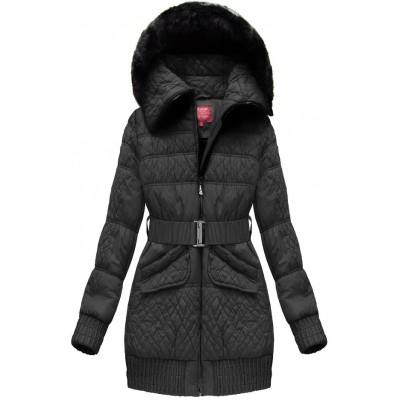 Dámska zimná bunda s opaskomč čierna (J6313W)