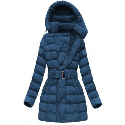 Dámska zimná bunda s opaskom modrá (AH-1811)