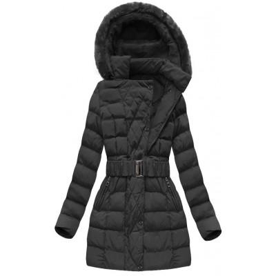 Dámska zimná bunda s opaskom čierna (AH-1811)