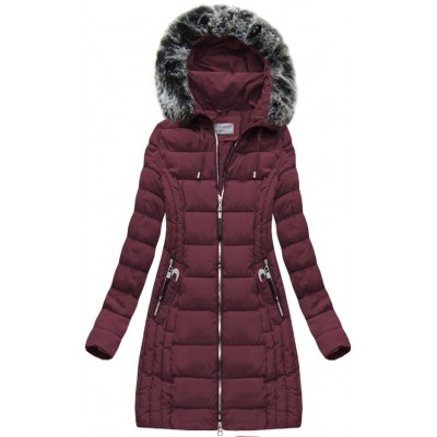 Dlhá dámska zimná bunda bordová (B1056-30)