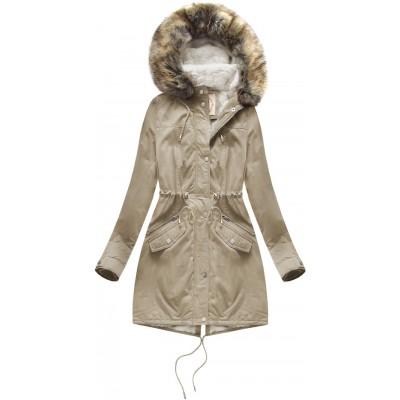 Dámska zimná bunda parka béžová (7602BIG)