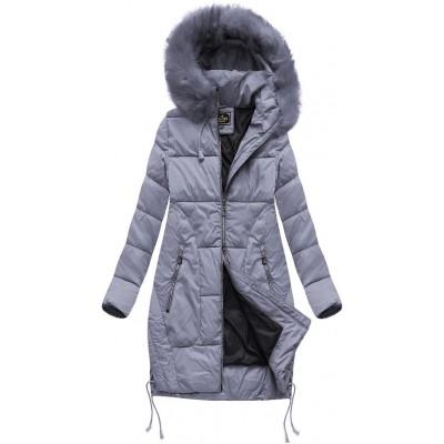 Dámska zimná bunda s kapucňou MODA690 šedo-fialová