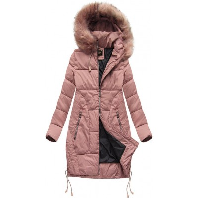Dámska zimná bunda s kapucňou MODA690 staroružová