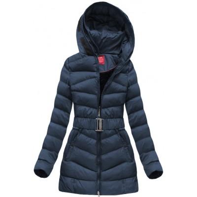 Prešívaná dámska zimná bunda tmavomodrá (GS278W)